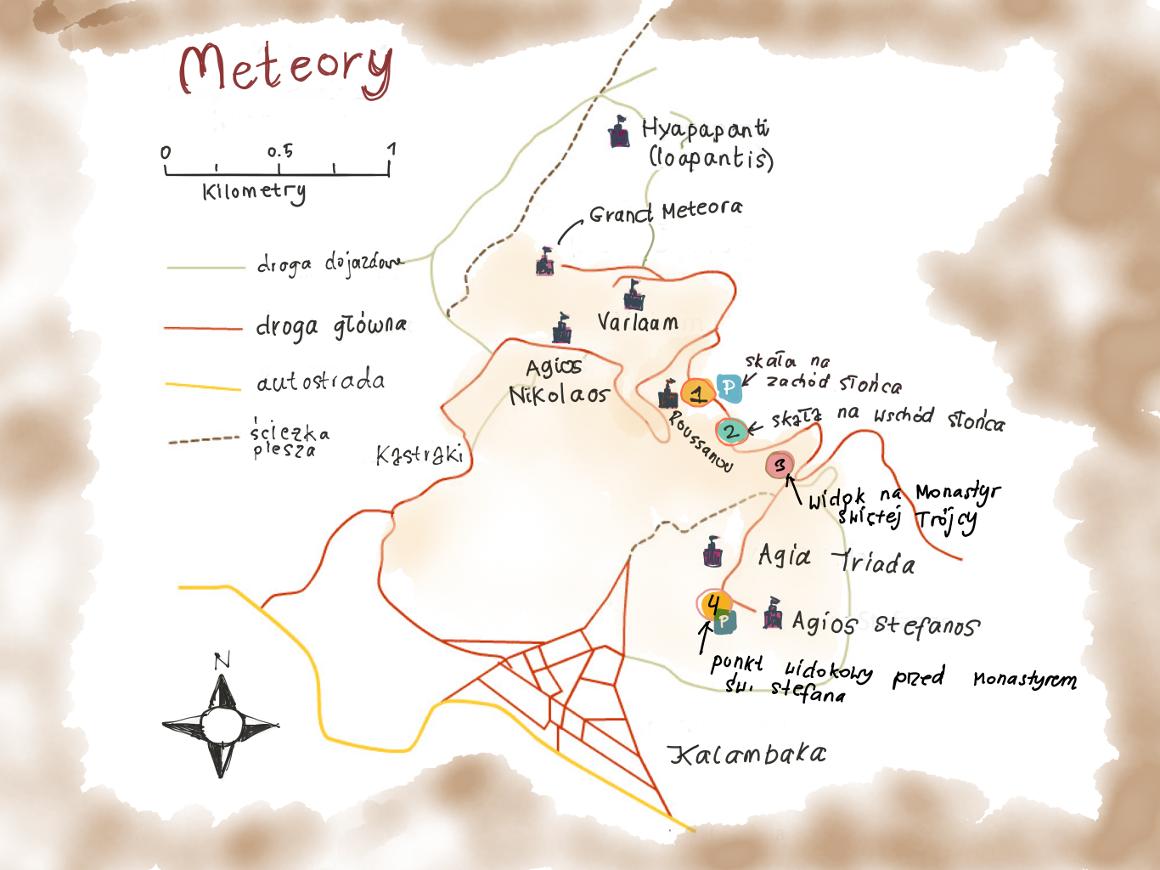 Meteory mapa punktów widokowych