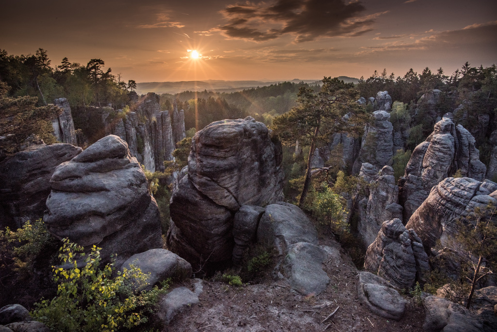 prachowskie skały zachód słońca