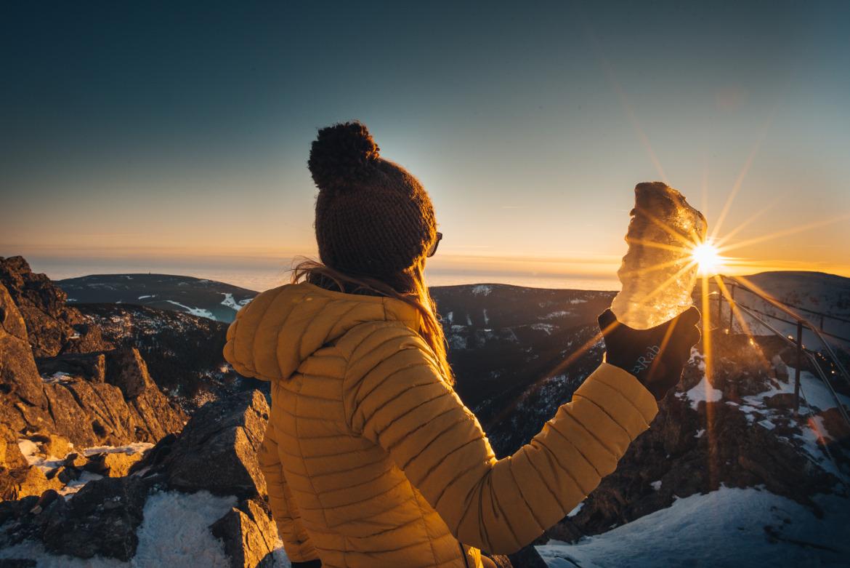zima w górach gwiazdka